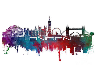 London Skyline Digital Art - London skyline city blue by Justyna JBJart