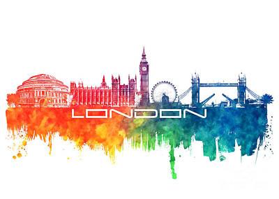 London Skyline Digital Art - London skyline city color by Justyna JBJart