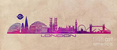 London Skyline Digital Art - London skyline city long by Justyna JBJart