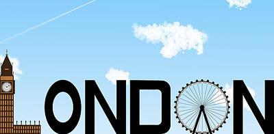Big Ben Digital Art - London Skyline Daytime by David Smith
