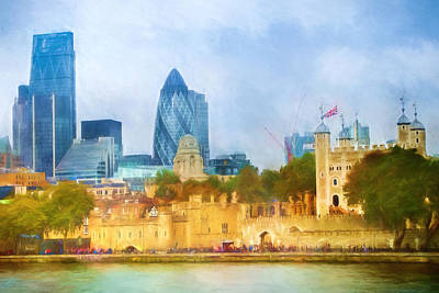 London Skyline Painting - London Skyline Impression by Lutz Baar