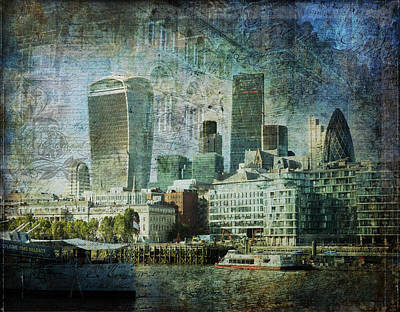 Digital Art - London Skyline Key Of Blue by Nicky Jameson