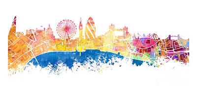 London Skyline Digital Art - London skyline map city Tamiza by Justyna JBJart