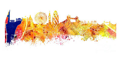 London Skyline Map City Tower Art Print