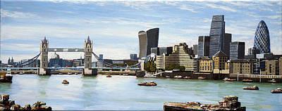 London Skyline Paintings - London Skyline by Mark Woollacott