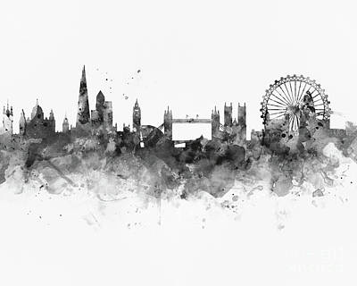 London Skyline Mixed Media - London Skyline by Monn Print