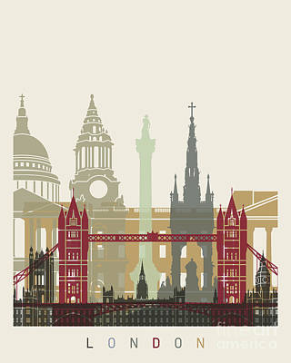 London Skyline Painting - London Skyline Poster by Pablo Romero