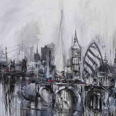 London Eye Painting - London Skyline Print by Irina Rumyantseva