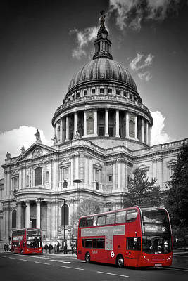 London St. Pauls Cathedral And Red Bus Print by Melanie Viola