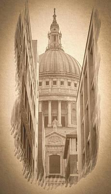 Photograph - London St Pauls Cathedral Between Two Modern Brick Buildings by Jacek Wojnarowski