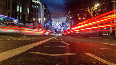 Photograph - London Strand Christmas Street Decoration With Motion Light By Night by Jacek Wojnarowski