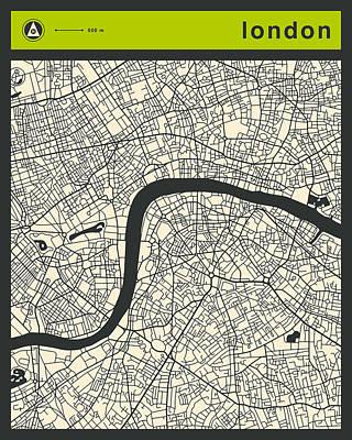Uk Map Digital Art - London Street Map by Jazzberry Blue