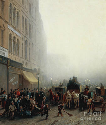 Nineteenth Century Painting - London Street With Figures by Luigi Steffani