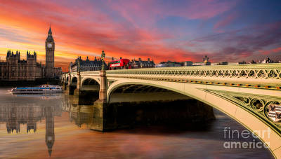 London Digital Art - London Sunset by Adrian Evans