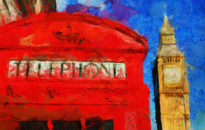 London - Telephone Box - Painting Original by Sir Josef - Social Critic -  Maha Art