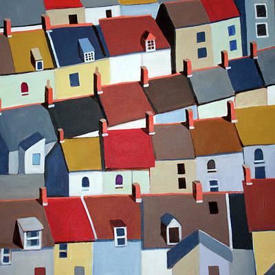 Representative Abstract Painting - London Terraced Buildings by Toni Silber-Delerive