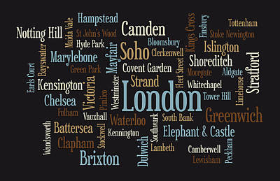 Hills Digital Art - London Text Map by Michael Tompsett