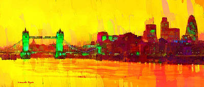 Ancient Digital Art - London Thames And Bridge - Da by Leonardo Digenio