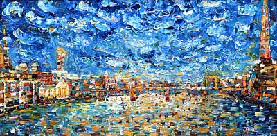 Shards Painting - London Thames by Pete Caswell
