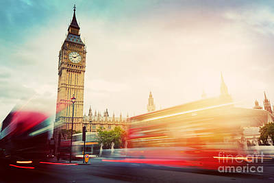 Transport Photograph - London, The Uk. Red Buses And Big Ben, The Palace Of Westminster. Vintage by Michal Bednarek