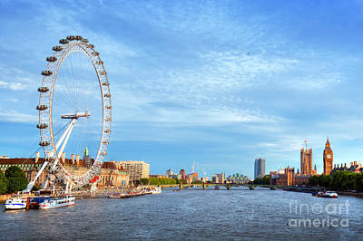 City Photograph - London, The Uk Skyline. Big Ben, London Eye And River Thames. English Symbols by Michal Bednarek