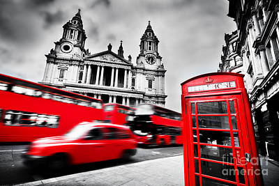 Front Photograph - London, The Uk. St Paul's Cathedral, Red Bus, Taxi Cab And Red Telephone Booth by Michal Bednarek