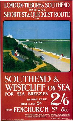 Train Mixed Media - London-tilbury And Southend Railway - Southend And Westcliff On Sea - Retro Travel Poster by Studio Grafiikka