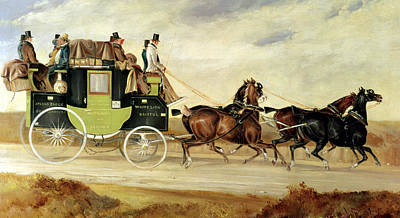 Horse Drawn Carriage Painting - London To Bristol And Bath Stage Coach by Charles Cooper Henderson