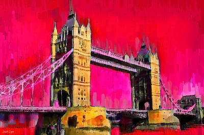 London Painting - London Tower Bridge 10 - Pa by Leonardo Digenio