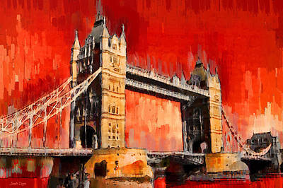 Exterior Digital Art - London Tower Bridge 12 - Da by Leonardo Digenio