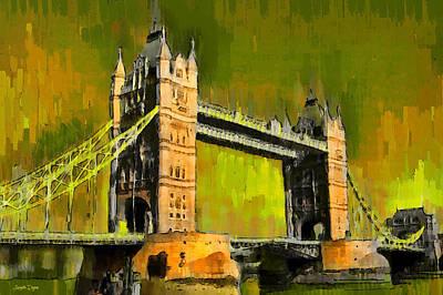 Suspension Bridge Digital Art - London Tower Bridge 15 - Da by Leonardo Digenio