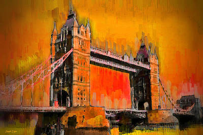Bridges Painting - London Tower Bridge 19 - Pa by Leonardo Digenio