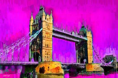 Suspension Painting - London Tower Bridge 9 - Pa by Leonardo Digenio