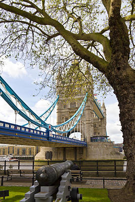 London Tower Bridge And Cannon Print by Melanie Viola