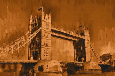 Suspension Painting - London Tower Bridge Sepia - Pa by Leonardo Digenio