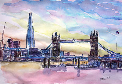 Shards Painting - London Tower Bridge With The Shard Watercolor Art by M Bleichner