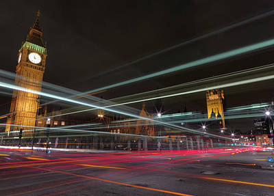 The Clock Photograph - London Traffic by Mark A Paulda