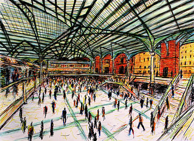 London Skyline Drawing - London Train Station by K McCoy