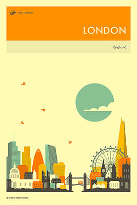 London Skyline Wall Art - Digital Art - London Travel Poster by Jazzberry Blue
