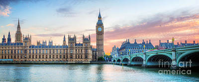 Photograph - London, Uk Panorama. Big Ben In Westminster Palace On River Thames At Sunset by Michal Bednarek