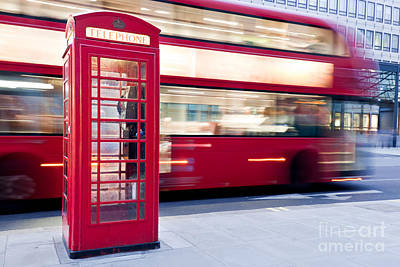 Heritage Photograph - London, Uk. Red Telephone Booth And Red Bus Passing. Symbols Of England by Michal Bednarek