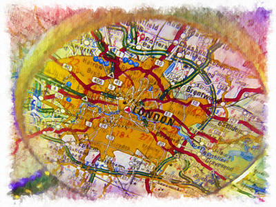 London City Map Painting - London Under Magnifier by Lanjee Chee