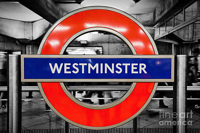 Photograph - London Underground Sign Of Westminster Station by Michal Bednarek