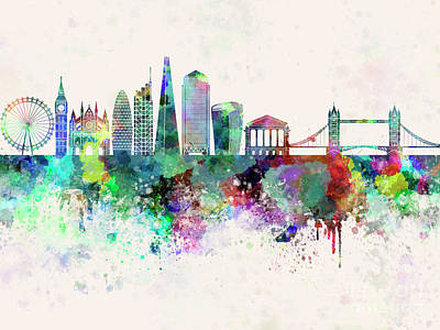 London Skyline Painting - London V2 Skyline In Watercolor Background by Pablo Romero