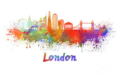 London Skyline Painting - London V2 Skyline In Watercolor  by Pablo Romero