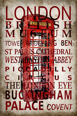 London Eye Wall Art - Photograph - London Vintage Poster Red by Delphimages Photo Creations