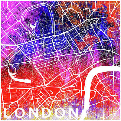 Pop Art Royalty-Free and Rights-Managed Images - London watercolor by Delphimages Photo Creations