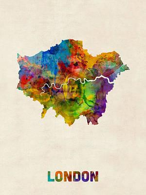 City Of London Digital Art - London Watercolor Map by Michael Tompsett