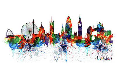 Mixed Media - London Watercolor Skyline Silhouette by Marian Voicu