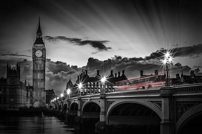 London Westminster Bridge At Sunset Print by Melanie Viola